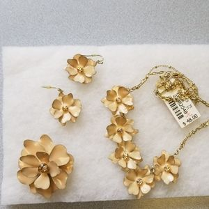 Talbots enameled flowered necklace, earrings, pin